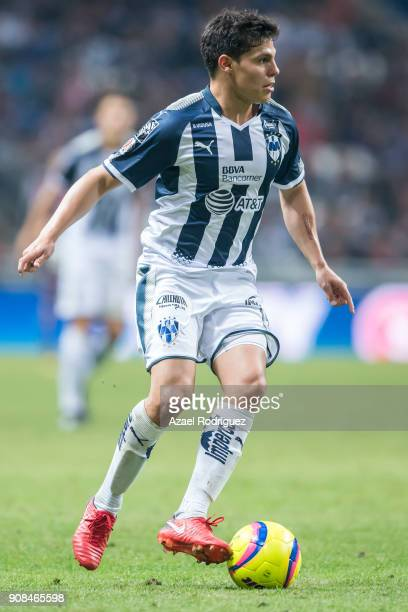 Arturo Gonzalez of Monterrey drives the ball during the third round match between Monterrey and Tijuana as part of Torneo Clausura 2018 Liga MX at...