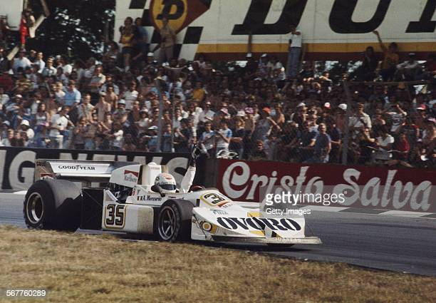 Arturo Merzario of Italy driving the Ovoro March March 761 Ford Cosworth DFV V8 retires from the John Player British Grand Prix on 18 July 1976 at...
