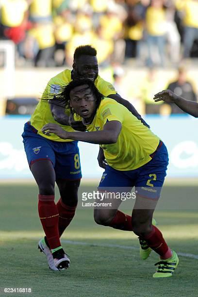 Arturo Mina of Ecuador celebrates after scoring the opening goal during a match between Ecuador and Venezuela as part of FIFA 2018 World Cup...