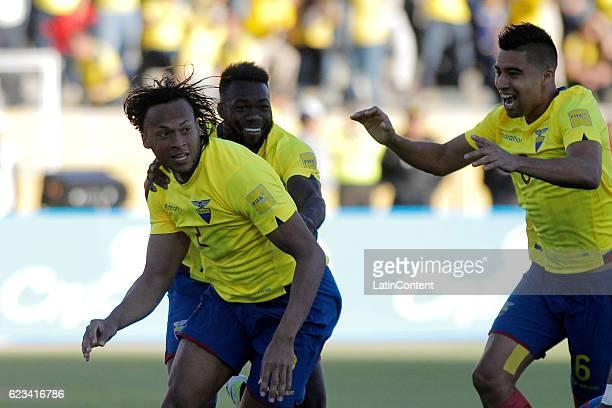 Arturo Mina of Ecuador celebrates with teammates after scoring the opening goal during a match between Ecuador and Venezuela as part of FIFA 2018...
