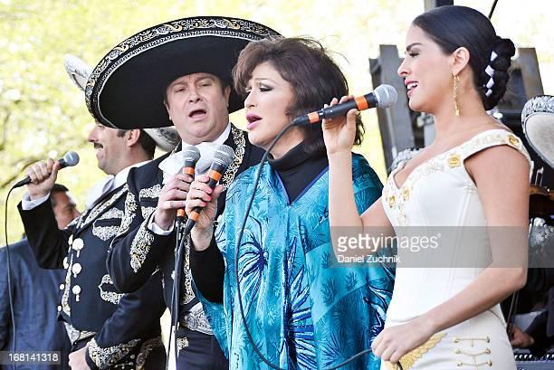 Arturo Peniche Angelica Maria and Danna Garcia perform during the Que Bonito Amor presentation at the Festival Cinco de Mayo in Flushing Meadows...
