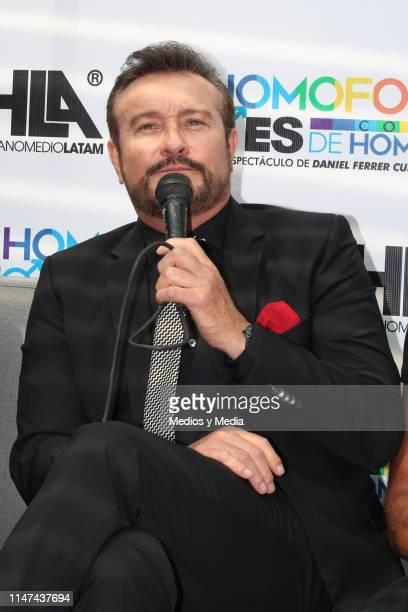 Arturo Peniche speaks during a press conference to present the play 'La homofobia no es cosa de hombres' on May 6 2019 in Mexico City Mexico