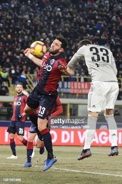 Arturo Romagnoli of Bologna FC in action during the Coppa Italia match between Bologna FC and Juventus at Stadio Renato Dall'Ara on January 12 2019...