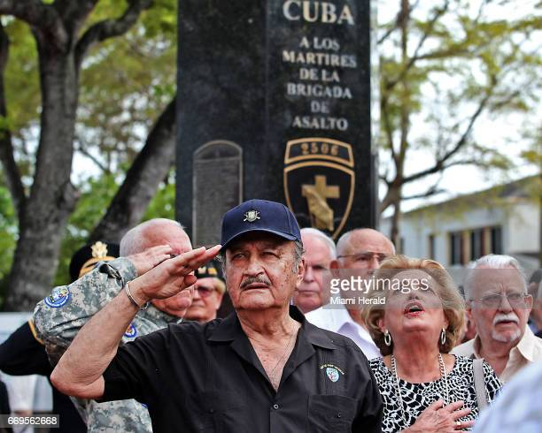 Arturo Sanchez Bella pays his respects as the Bay of Pigs Veterans Association honors those who died from the 2506 brigade during the April 1961...