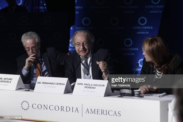 Arturo Valenzuela Fernando Cepeda speaking and Paola Holguin Moreno during Venezuela The Local Crisis with Global Impact conversation as part of the...