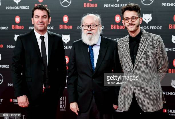 Arturo Valls and José Luis Cuerda attend during Feroz awards red carpet on January 19 2019 in Bilbao Spain