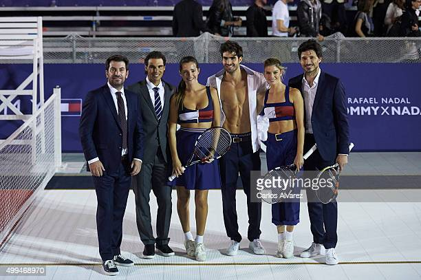 Arturo Valls Spanish tennis player Rafael Nadal Spanish models Malena Costa Juan Betancourt Cristina Tosio and Andres Velencoso attend Tommy Hilfiger...