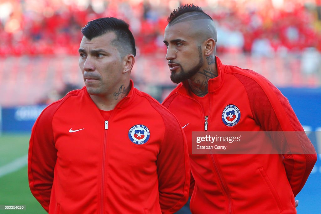 Arturo Vidal and Gary Medel of Chile look on prior a match between Chile and Venezuela as part of FIFA 2018 World Cup Qualifiers at Monumental Stadium on March 28, 2017 in Santiago, Chile.