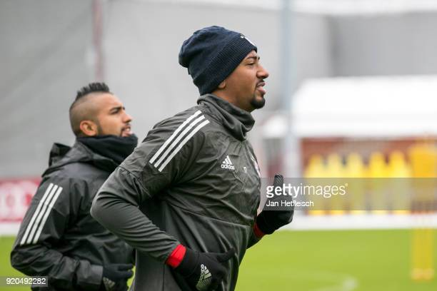 Arturo Vidal and Jerome Boateng of FC Bayern Muenchen during a training session ahead the champions league match between FC Bayern Munich and...