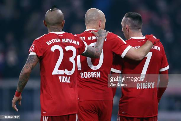 Arturo Vidal Arjen Robben and Franck Ribery of Muenchen react during the Bundesliga match between FC Bayern Muenchen and FC Schalke 04 at Allianz...