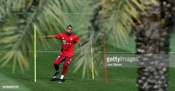 Arturo Vidal in action during a training session at day three of the Bayern Muenchen training camp at Aspire Academy on January 8 2016 in Doha Qatar