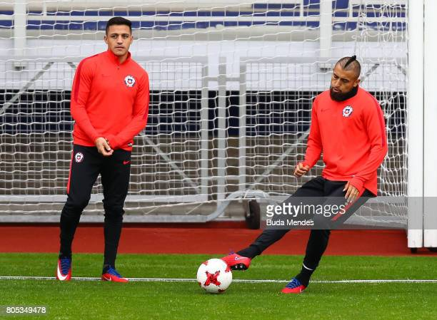Arturo Vidal kicks the ball during a Chile training session ahead of their FIFA Confederations Cup Russia 2017 final against Germany at Smena Stadium...