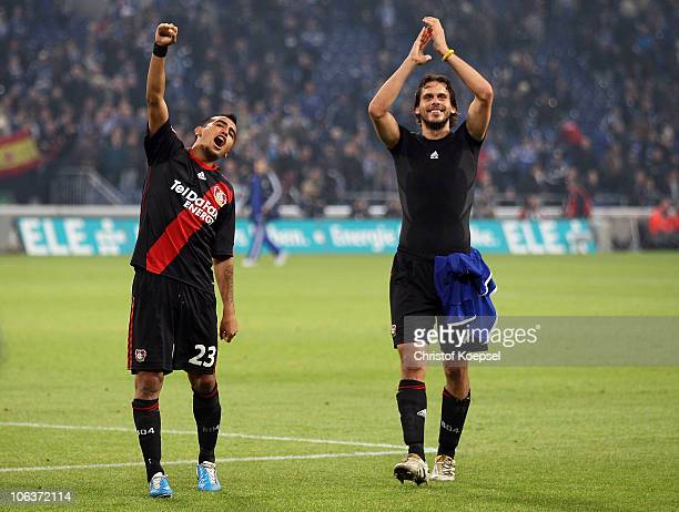 Arturo Vidal Manuel Friedrich of Leverkusen celebrates the victory after the Bundesliga match between FC Schalke 04 and Bayer Leverkusen at the...