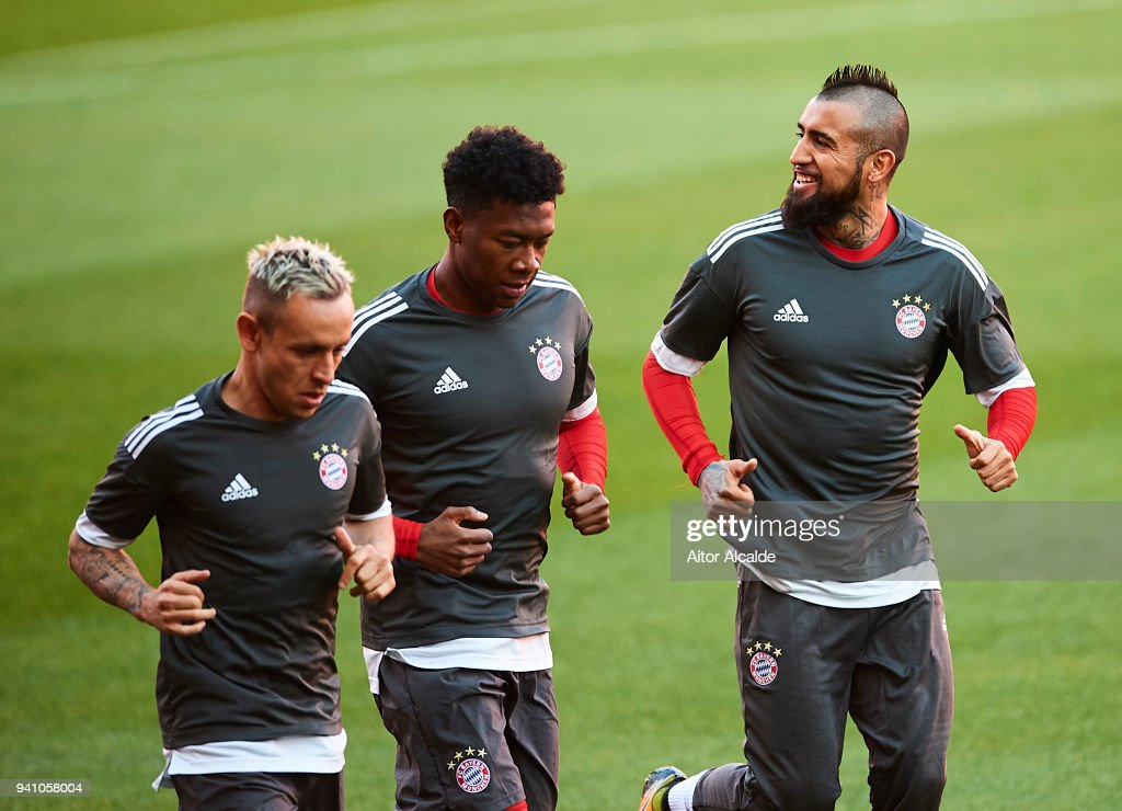Arturo Vidal Muenchen looks on during the Press Conference prior to their UEFA Champions League match against Sevilla FC at t Estadio Ramon Sanchez Pizjuan on April 2, 2018 in Seville, Spain.