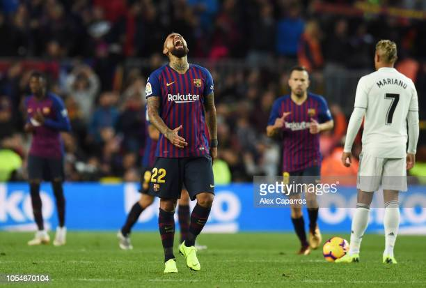 Arturo Vidal of Barcelona celebrates scoring his sides fifth goal during the La Liga match between FC Barcelona and Real Madrid CF at Camp Nou on...