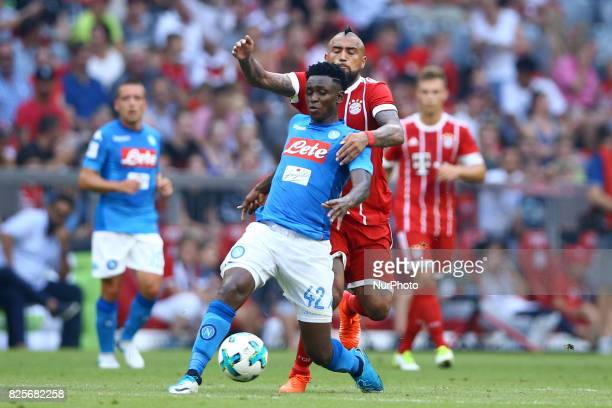 Arturo Vidal of Bayern and Amadou Diawara of Napoli during the Audi Cup 2017 match between SSC Napoli v FC Bayern Muenchen at Allianz Arena on August...