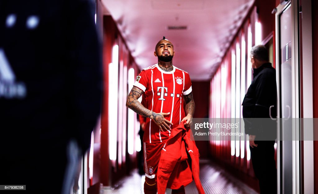 Arturo Vidal of Bayern Muenchen before the Bundesliga match between FC Bayern Muenchen and 1. FSV Mainz 05 at Allianz Arena on September 16, 2017 in Munich, Germany.