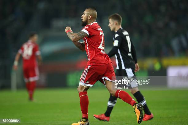Arturo Vidal of Bayern Muenchen celebrates after he scored a goal to make it 21 during the Bundesliga match between Borussia Moenchengladbach and FC...