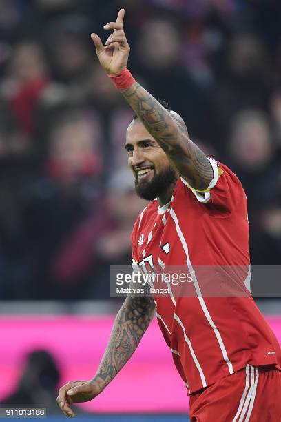 Arturo Vidal of Bayern Muenchen celebrates after he scored a goal to make it 42 during the Bundesliga match between FC Bayern Muenchen and TSG 1899...