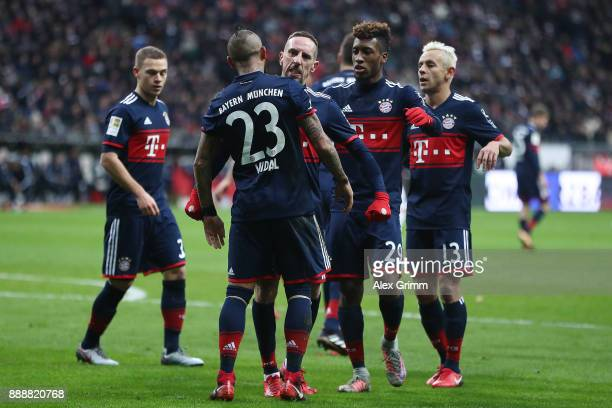 Arturo Vidal of Bayern Muenchen celebrates his goal to make it 10 with Franck Ribery of Bayern Muenchen and his team mates during the Bundesliga...