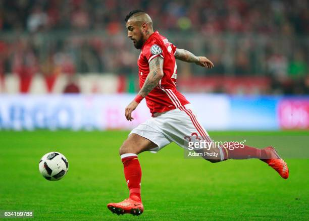 Arturo Vidal of Bayern Muenchen in action during the DFB Cup Round Of 16 match between Bayern Muenchen and VfL Wolfsburg at Allianz Arena on February...