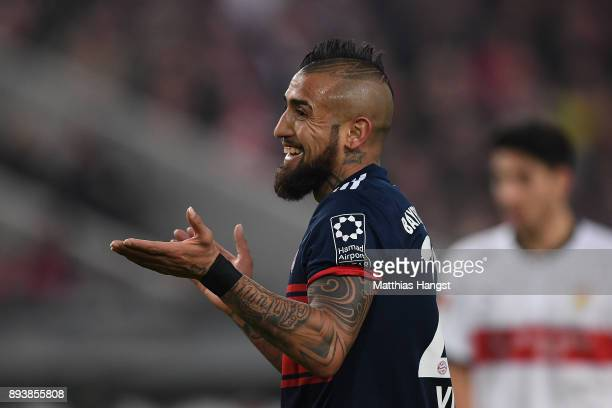 Arturo Vidal of Bayern Muenchen reacts during the Bundesliga match between VfB Stuttgart and FC Bayern Muenchen at MercedesBenz Arena on December 16...