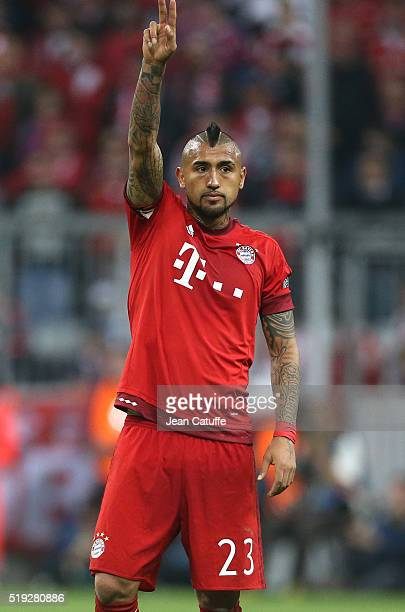 Arturo Vidal of Bayern Muenchen reacts during the UEFA Champions League quarter final first leg match between FC Bayern Muenchen and SL Benfica...