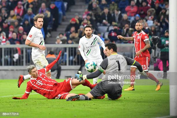 Arturo Vidal of Bayern Muenchen scores a goal to make it 10 during the Bundesliga match between FC Bayern Muenchen and Hannover 96 at Allianz Arena...