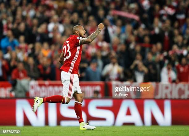 Arturo Vidal of Bayern Munich celebrates scoring the first goal during the UEFA Champions League Quarter Final first leg match between FC Bayern...