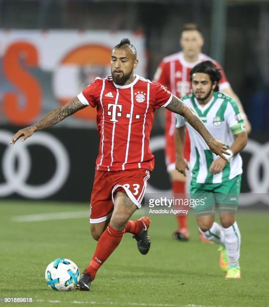 Arturo Vidal of Bayern Munich in action during a friendly match between FC Bayern Munich and AlAhly at Aspire Academy on January 06 2018 in Doha Qatar