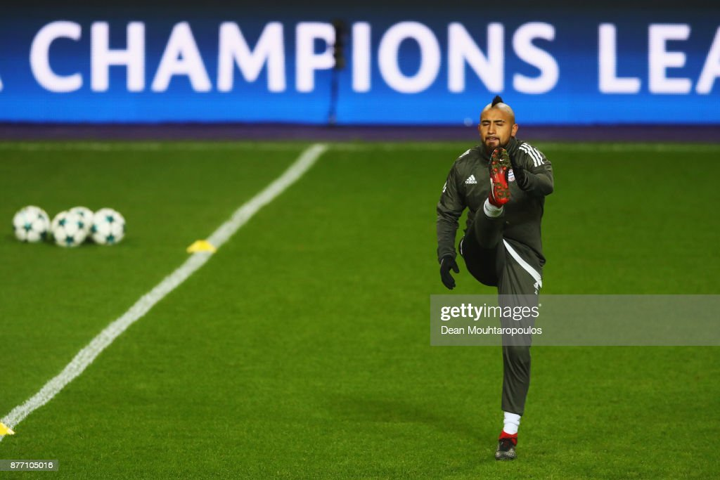 Arturo Vidal of Bayern Munich is pictured during the Bayern Muenchen Training session held at the Constant Vanden Stock Stadium on November 21, 2017 in Brussels, Belgium. R.S.C. Anderlecht will play Bayern Munich in their Group B, Champions League match on the 22nd of November, 2017.