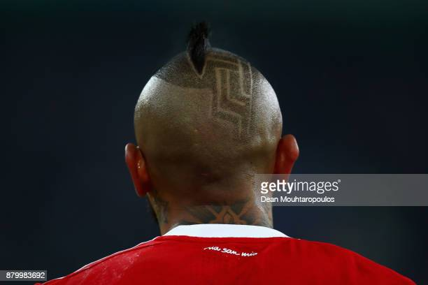 Arturo Vidal of Bayern Munich looks on during the Bundesliga match between Borussia Moenchengladbach and FC Bayern Muenchen at BorussiaPark on...