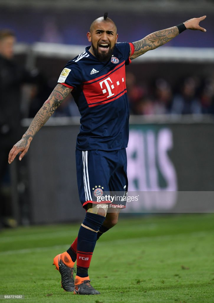 Arturo Vidal of Bayern reacts during the Bundesliga match between RB Leipzig and FC Bayern Muenchen at Red Bull Arena on March 18, 2018 in Leipzig, Germany.