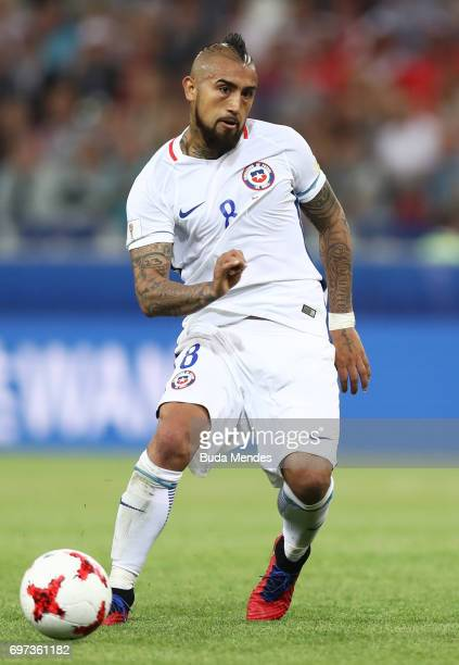 Arturo Vidal of Chil in action during the FIFA Confederations Cup Russia 2017 Group B match between Cameroon and Chile at Spartak Stadium on June 18...