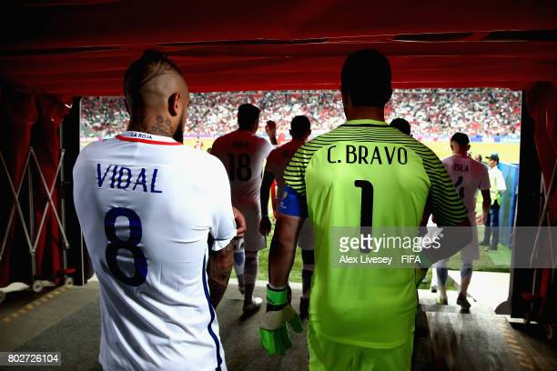 Arturo Vidal of Chile and Claudio Bravo of Chile walk out for the second half during the FIFA Confederations Cup Russia 2017 SemiFinal between...