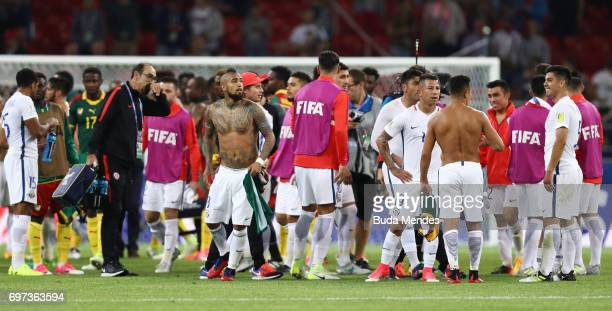 Arturo Vidal of Chile and his team celebrate after the FIFA Confederations Cup Russia 2017 Group B match between Cameroon and Chile at Spartak...