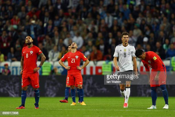 Arturo Vidal of Chile and Marcelo Diaz of Chile looks dejected as Germany score during the FIFA Confederations Cup Russia 2017 Group B match between...