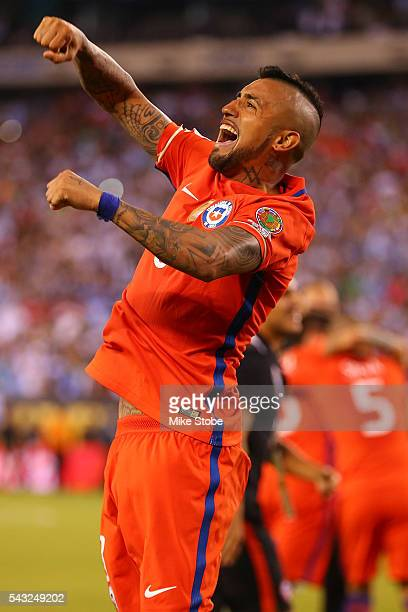 Arturo Vidal of Chile celebrates after defeating Argentina to win the Copa America Centenario Championship match at MetLife Stadium on June 26 2016...