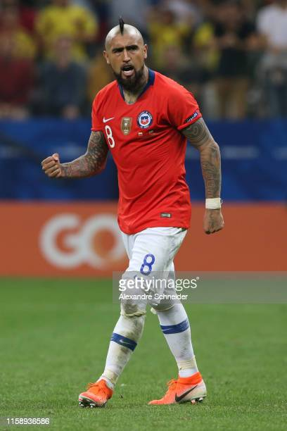 Arturo Vidal of Chile celebrates after scoring his penalty during a shootout after the Copa America Brazil 2019 quarterfinal match between Colombia...
