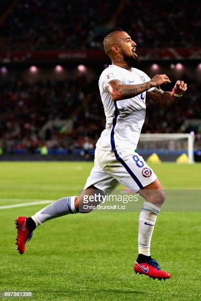 Arturo Vidal of Chile celebrates after scoring the first goal for Chile during the 2017 FIFA Confederations Cup Russia Group B match between Cameroon...