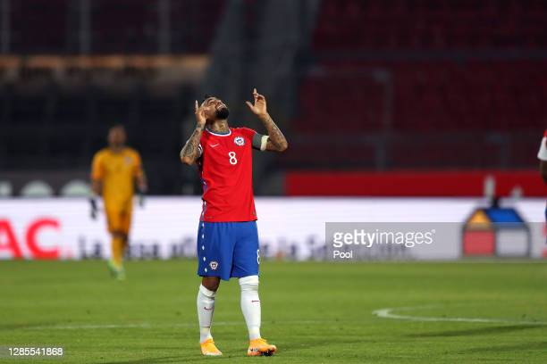 Arturo Vidal of Chile celebrates after scoring the first goal of his team during a match between Chile and Peru as part of South American Qualifiers...