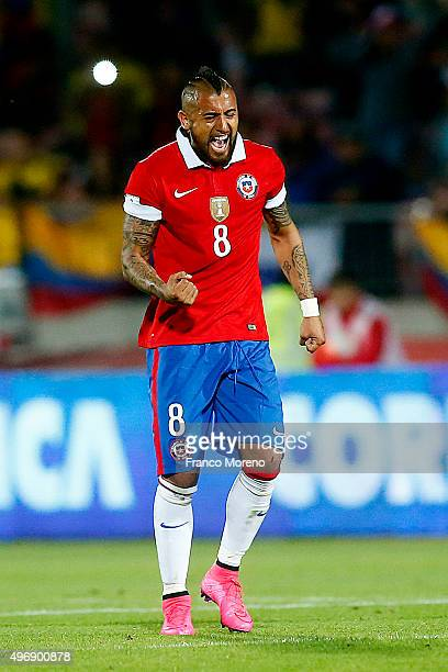 Arturo Vidal of Chile celebrates after scoring the first goal of his team during a match between Chile and Colombia as a part of FIFA 2018 World Cup...