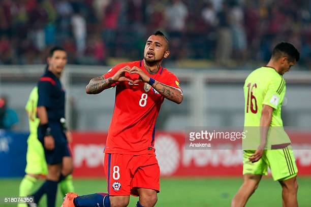 Arturo Vidal of Chile celebrates after scoring the fourth goal of his team during a match between Venezuela and Chile as part of FIFA 2018 World Cup...