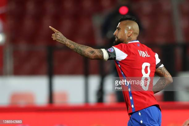 Arturo Vidal of Chile celebrates after scoring the second goal of his team during a match between Chile and Peru as part of South American Qualifiers...