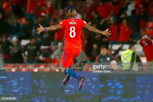 Arturo Vidal of Chile celebrates after scoring the second goal of his team during a match between Chile and Peru as a part of FIFA 2018 World Cup...
