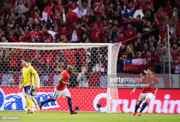 Arturo Vidal of Chile celebrates after scoring to 01 during the International Friendly match between Sweden and Chile at Friends arena on March 24...
