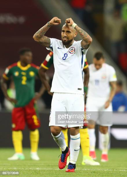 Arturo Vidal of Chile celebrates after the FIFA Confederations Cup Russia 2017 Group B match between Cameroon and Chile at Spartak Stadium on June 18...