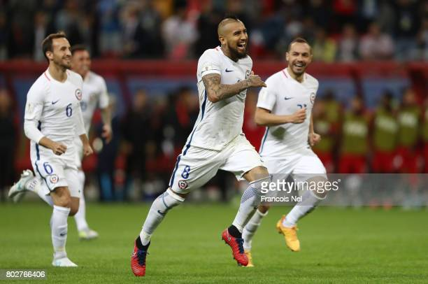 Arturo Vidal of Chile celebrates after the FIFA Confederations Cup Russia 2017 SemiFinal between Portugal and Chile at Kazan Arena on June 28 2017 in...