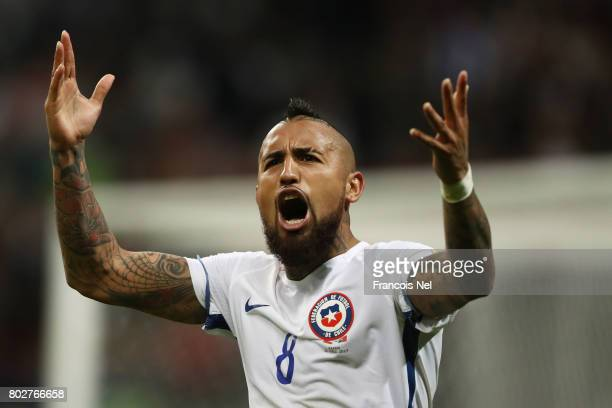 Arturo Vidal of Chile celebrates during the penalty shoot out during the FIFA Confederations Cup Russia 2017 SemiFinal between Portugal and Chile at...
