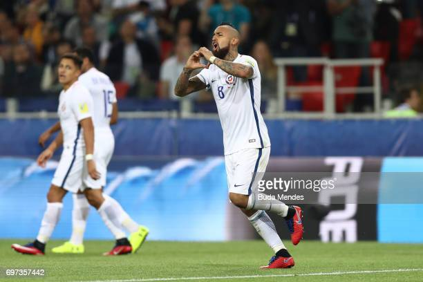 Arturo Vidal of Chile celebrates scoring his sides first goal during the FIFA Confederations Cup Russia 2017 Group B match between Cameroon and Chile...